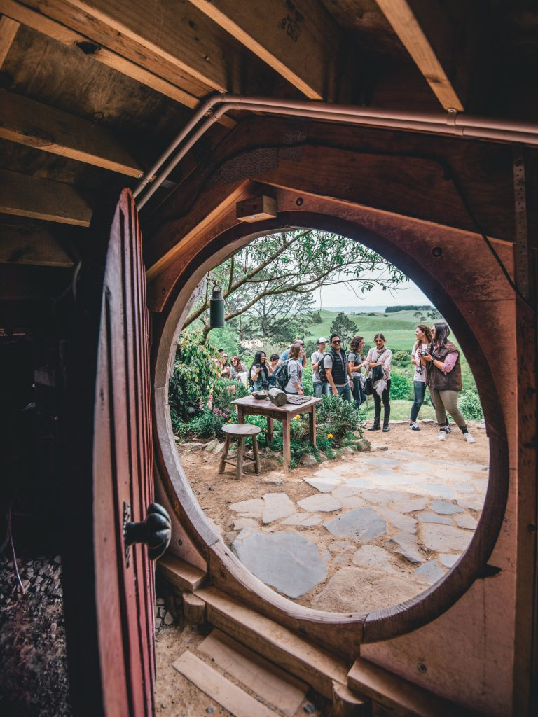 view from inside a hobbit hole in hobbiton movie set
