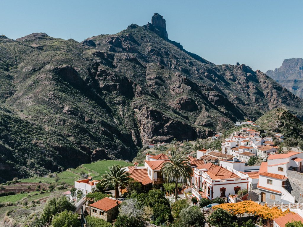 gran canaria village tejeda - view of roque nublo